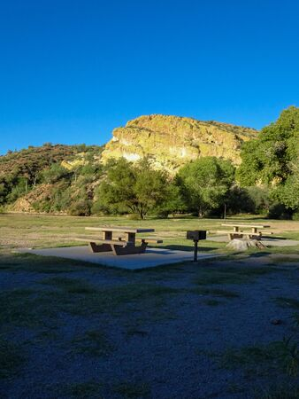 Picnic area with a stunning view at Tonto National Forest Stock Photo