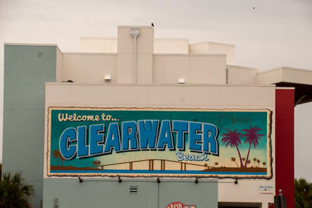 Welcome to Clearwater Beach sign located on Crabby's Restaurant