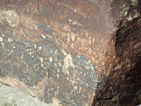 Panel of Petroglyphs carved in Newspaper Rock