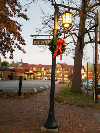 Boston Way lamppost decorated with a beautiful wreath Editorial