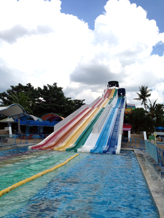 Colorful water slides at the water park Stock Photo - 89444056