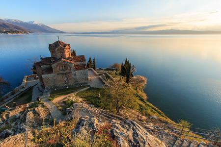 Sveti (Saint) Jovan Kaneo Church on Lake Ohrid 스톡 콘텐츠