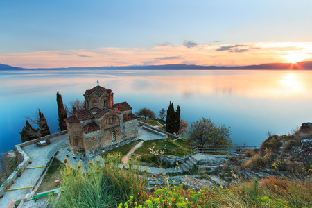 sunrise lake: Sveti (Saint) Jovan Kaneo Church on Lake Ohrid Stock Photo