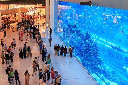DUBAI, UAE - October 07,2014 : Aquarium in Dubai Mall - world