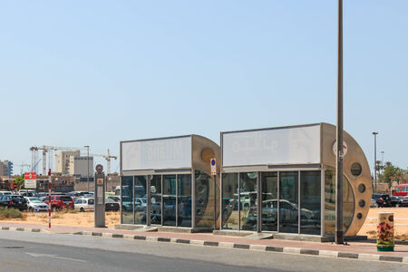 conditioned: DUBAI, UAE - October 08, 2014: An air conditioned bus stop in Dubai.