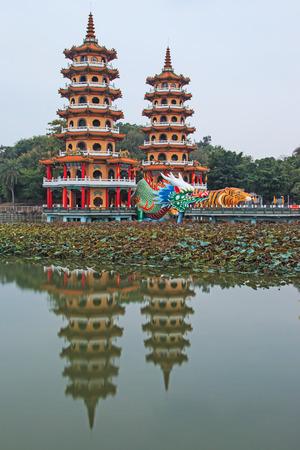 Dragon And Tiger Pagodas at lotus pond, Kaohsiung, Taiwan photo