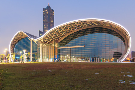 Kaohsiung, Taiwan - December 18, 2014: The newly opened Kaohsiung Exhibition Center and the 85 Building on background.