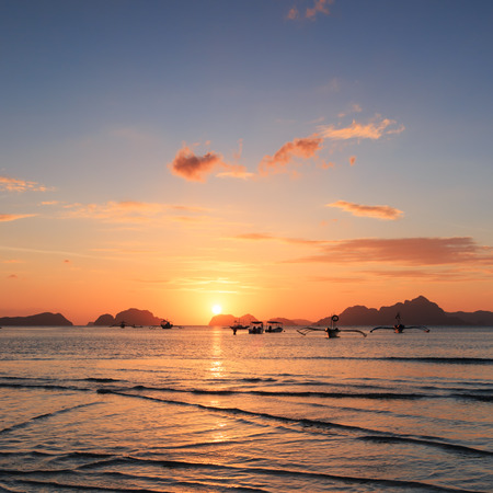 Sunset at Corong Corong beach, Palawan, Philippines photo