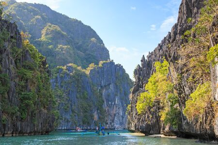 nido: Inside the big lagoon of the Miniloc island, El Nido, Palawan, Philippines