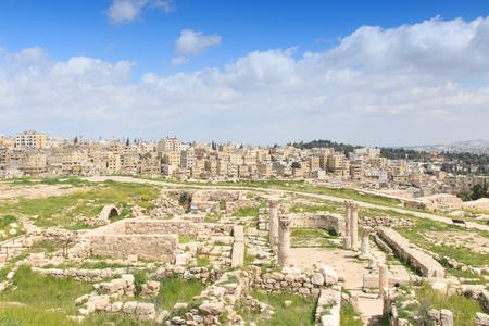 the citadel: Rovine cittadella di Amman in Giordania Archivio Fotografico