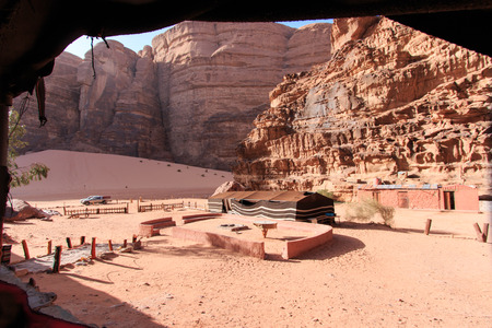 bedouin: Bedouin camp in the Wadi Rum desert, Jordan Stock Photo