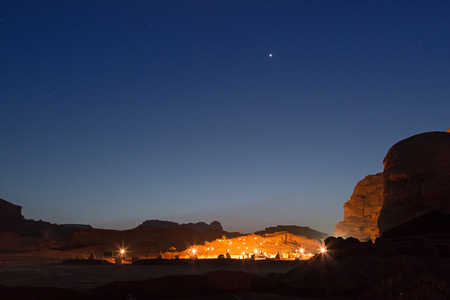 desert sun: Bedouin camp in the Wadi Rum desert, Jordan, at night Stock Photo