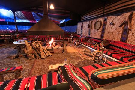 Bedouin camp in the Wadi Rum desert, Jordan, at night Editorial