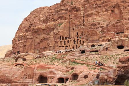 petra  jordan: Petra, Jordan - March 26, 2015: Tourist exploring the ruins of ancient Petra, Jordan Editorial