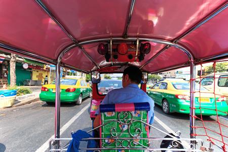 Bangkok, Thailand - April 16,2015: Interior of a Tuk Tuk, the most common mean of transportation in Bangkok