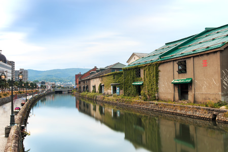 Otaru, historic canal and warehouse district in Hokkaido, Japan Stock Photo
