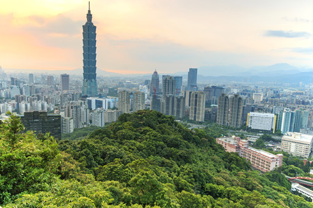 Taipei, Taiwan skyline at twilight