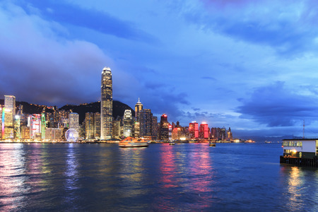hong kong island: Hong Kong Island from Kowloon at dusk