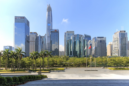 hing: Shenzhen, China - August 19,2015: Shenzhen skyline as seen from the Stock Exchange building with the KK100, the second tallest building of the city, on background