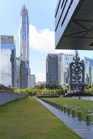 ifc: Shenzhen, China - August 19,2015: Shenzhen skyline as seen from the Stock Exchange building with the Ping An IFC, the tallest building of the city, on background