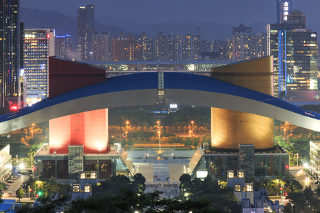 civic center: Shenzhen, China - August 27,2015: Detail of the Civic Center in Shenzhen at dusk Editorial
