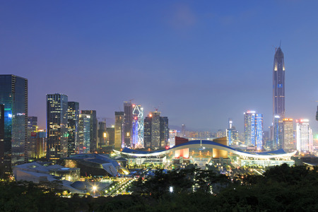 civic center: Shenzhen, China - August 27,2015: Shenzhen cityscape at dusk with the Civic Center and the Ping An IFC on foreground