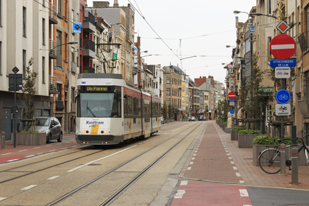 electric tram: Blankenberge, Belgium - September 13,2015: An electric tram driving through the center of Blankenberge, in Belgium, a national and international seaside resort. Editorial