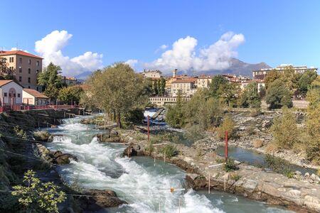 dora: Dora Baltea River and Ivrea cityscape in Piedmont, Italy Stock Photo