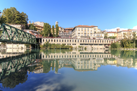 dora: Dora Baltea River and Ivrea cityscape in Piedmont, Italy Editorial