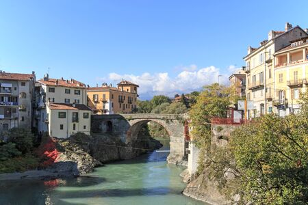 Dora Baltea River and Ivrea cityscape in Piedmont, Italy Reklamní fotografie