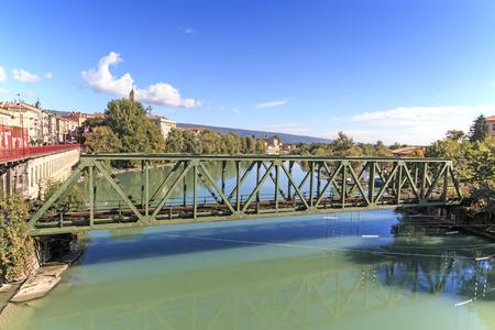 dora: Dora Baltea River and Ivrea cityscape in Piedmont, Italy Foto de archivo