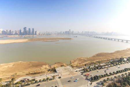 december 31: Nanchang, China - December 31, 2015: Panoramic view of Nanchang, the capital of Jianxi, at noon