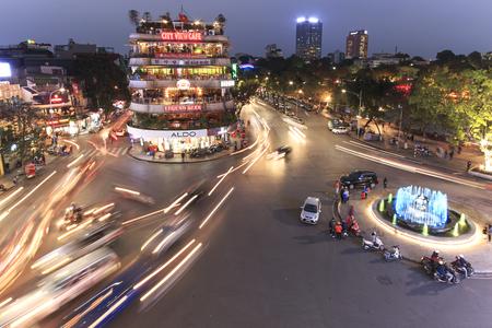 Hanoi, Vietnam: February 23, 2016: Aerial view of Hanoi at twilight at intersection locating next to Hoan Kiem lake, center of Hanoi.