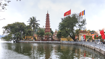 tran: Hanoi, Vietnam: February 23, 2016: Tran Quoc pagoda, the oldest Buddhist temple in Hanoi.