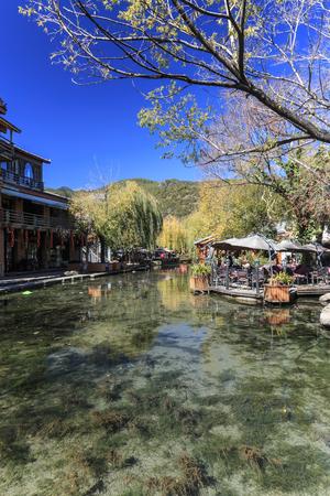 Lijiang, China - November 14, 2016: Main square of ShuHe Old Town, not far from Lijiang Old Town Editorial