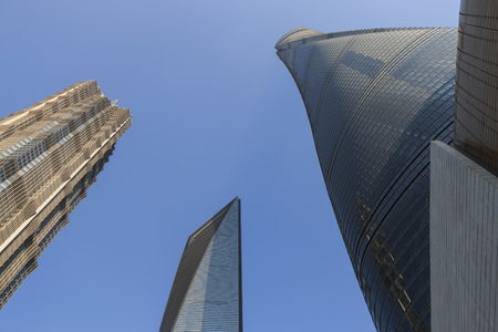 Shanghai Tower, Jin Mao Tower and Shanghai World financial Center viewed from below Stock Photo