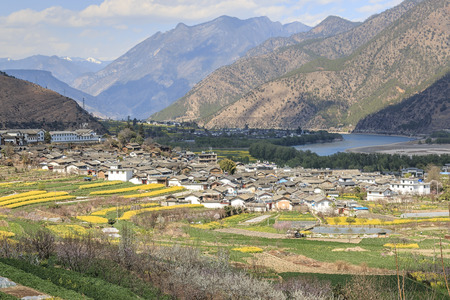 ShiGu village near Lijiang, aerial view. ShiGu is in Yunnan, China, and was part of the South Silk Road or ChaMa GuDao