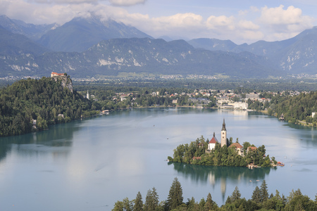 bohinj: Aerial view of lake Bled at sunset with a view of the island church and the castle. Editorial