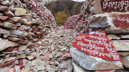 Mani stones with buddhist mantra Om Mani Padme Hum engraved in Tibetan in Yushu, China