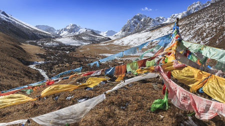 Tibetan landscape in China with prayer flags on foreground and mountains and yaks on background Stock Photo