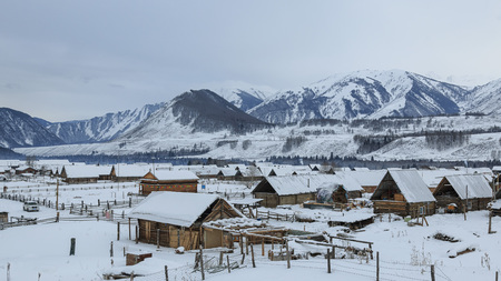 Hemu village at sunrise in Xinjiang, China, Kanas