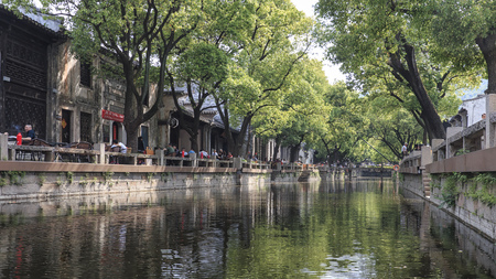 Huishan, China - May 4, 2018: Water canal in Huishan old town in Jiangsu province, China Stockfoto