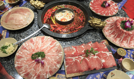 Chengdu, China - December 10, 2018: Close up of Sichuan hot pot in Chengdu Banco de Imagens - 118443262