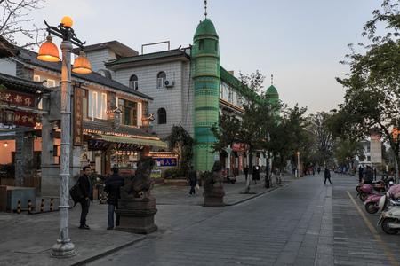 Dali, China - February 22, 2019: Muslim mosque in Dali old town at dusk