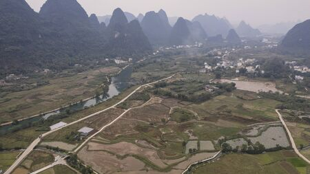 Aerial view of the countryside in Yangshuo in Guanxi province, China 스톡 콘텐츠