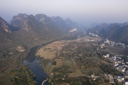 Aerial view of the countryside in Yangshuo in Guanxi province, China at sunrise 스톡 콘텐츠