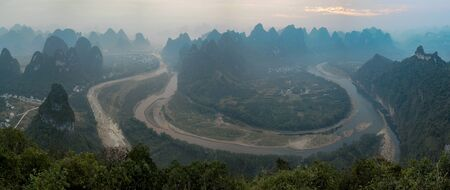 Aerial view of the Li River in Xingping near Yangshuo in Guanxi province, China, at sunrise