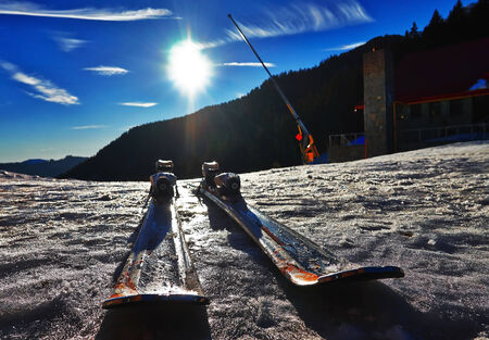 slope: Pair of skis on slope Stock Photo