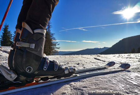Skier legs close up. Standard-Bild