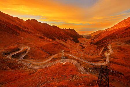 transfagarasan: Autumn Sunset on Transfagarasan Mountain High Road Stock Photo